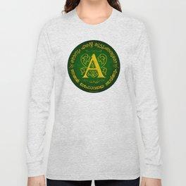 Joshua 24:15 - (Gold on Green) Monogram A Long Sleeve T-shirt