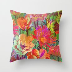 flowers and words in bright colors Throw Pillow