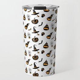 Halloween pattern with pumpkins and bats Travel Mug