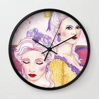 agnes cecile Wall Clocks featuring Marie & Cecile by artofnadia