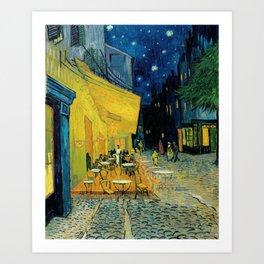 Van Gogh's Café Terrace at Night (High Resolution) Art Print