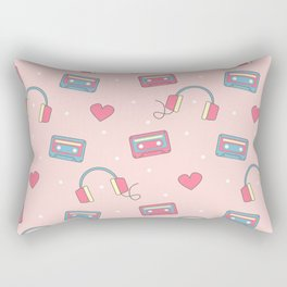 cute colorful pattern with headphones, hearts, dots and cassette tapes Rectangular Pillow