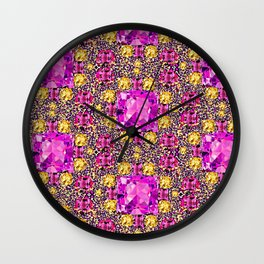 BEAUTIFUL FACETED PINK SAPPHIRES & CITRINES GEMS ART Wall Clock