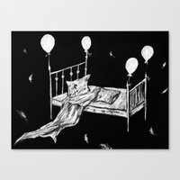 bed Canvas Prints featuring Bed by woman