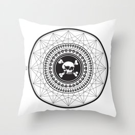 Skull and Geometric Design Throw Pillow