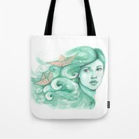 ships Tote Bags featuring Paper ships by Pendientera