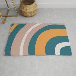 🤍, Retro Art, Teal and Orange, Geometric Art Rug