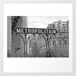 Metropolitan Paris Sign B&W Art Print