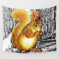 squirrel Wall Tapestries featuring Squirrel by Natalie Berman