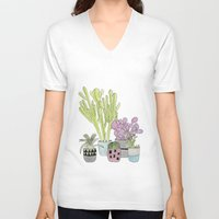 cactus V-neck T-shirts featuring Cactus by Olivia James