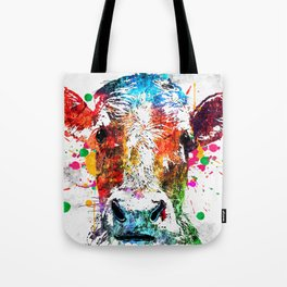 Cow Watercolor Grunge Tote Bag