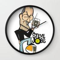 steve jobs Wall Clocks featuring STEVE JOBS by Valter Brum