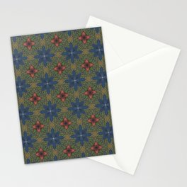 blue and red flowers Stationery Cards