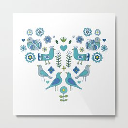 Scandi Folk Birds - blue & white Metal Print