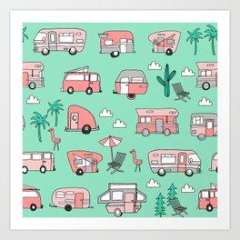Camper summer vacation tropical pattern RV van life print by andrea lauren Art Print