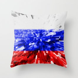Extruded Flag of Russia Throw Pillow