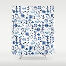 Nautical Watercolor Shower Curtain