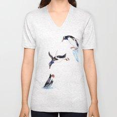 Jumping Penguin Unisex V-Neck