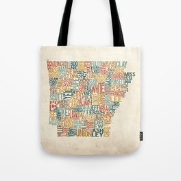 Arkansas by County Tote Bag