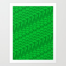 Video Game Controllers - Green Art Print