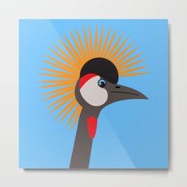 Grey Crowned Crane African Bird Portrait 2 Metal Print