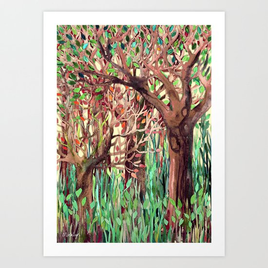 Lost in the Forest - watercolor painting collage Art Print