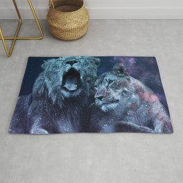 Galaxy Lion Colorful Couple Rug
