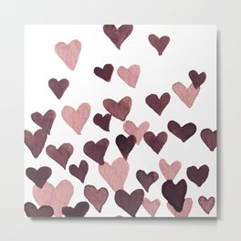 Valentine's Day Watercolor Hearts - dark pink Metal Print