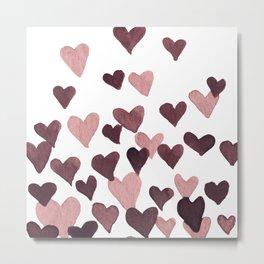 Valentine's Day Watercolor Hearts - dark pink Metal Print