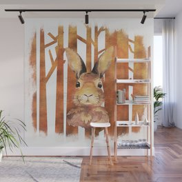 Fast Rabbit in the forest - abstract Hare watercolor Illustration Wall Mural