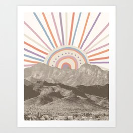 Summerlin Mountain Up // Abstract Vintage Mountains Summer Sun Surf Beach Vibe Drawing Happy Wall Ha Art Print