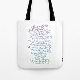 Love is patient, Love is Kind-1 Corinthians 13:4-8 Tote Bag