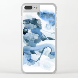 Pre-Dawn: a pretty, dramatic, mixed-media piece in shades of blues Clear iPhone Case