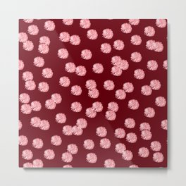 Red Polka Dots on Rosewood Metal Print