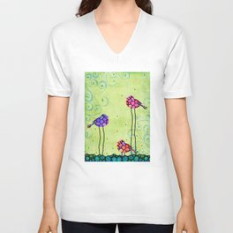 Three Birds - Spring Art By Sharon Cummings Unisex V-Neck