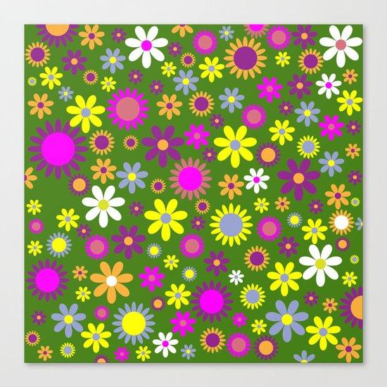 Multicolored Flower Garden Pattern Canvas Print