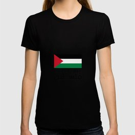 palestine flag with the word in arabic and english T-shirt