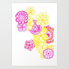 28. Colourful Pink and Yellow Flower in Henna World Art Print