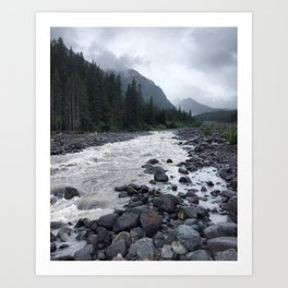 White River Misty Mountain Art Print