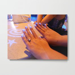 Hands and feet of a person in the frame Metal Print