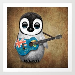 Baby Penguin Playing Turks and Caicos Flag Guitar Art Print