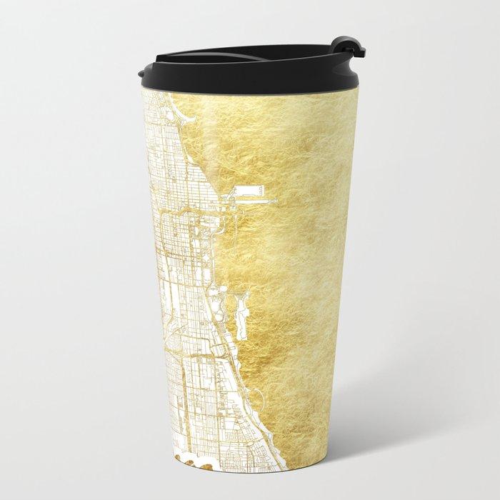 Chicago Map Gold Metal Travel Mug