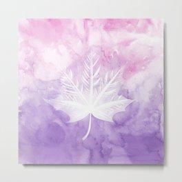 Fall Watercolor - Pink Violet Leaf Metal Print