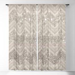 Sepia Glitter Chevron #1 #shiny #decor #art #society6 Sheer Curtain