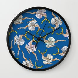 Dancing Reindeers - Diesel Blue Wall Clock