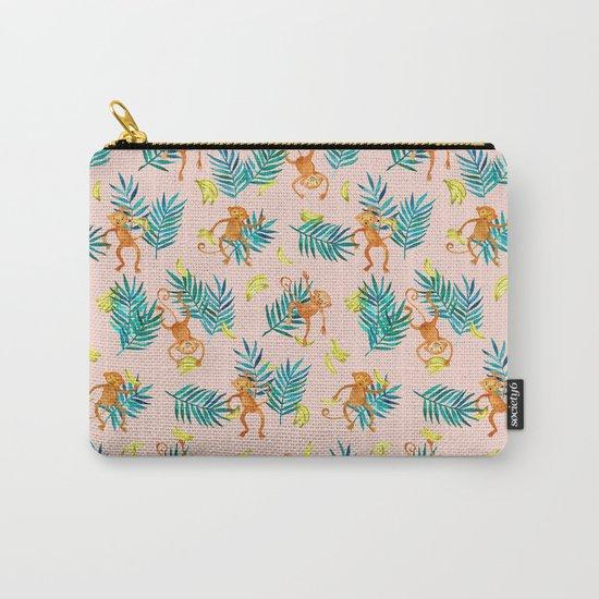 Tropical Monkey Banana Bonanza on Blush Pink Carry-All Pouch
