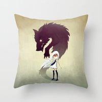 audrey Throw Pillows featuring Werewolf by Freeminds