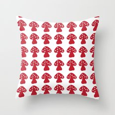 mushroom red Throw Pillow
