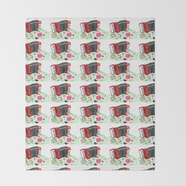 Retro red accordion Throw Blanket