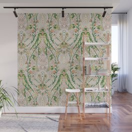 Green Pink Leaf Flower Paisley Wall Mural
